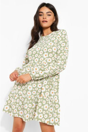 Boohoo Womens Floral Print Drop Hem Smock Dress - - 4