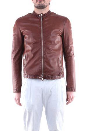 EMANUELE CURCI Leather jackets Men Tobacco