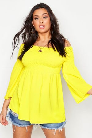 Boohoo Womens Plus Shirred Off Shoulder Smock Top - - 12