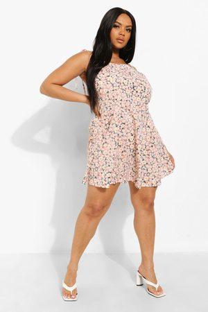 Boohoo Womens Plus Strappy Sunflower Print Swing Dress - - 12