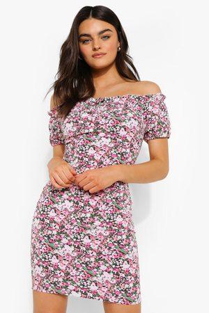 Boohoo Women Party Dresses - Womens Bardot Floral Print Mini Dress - - 4