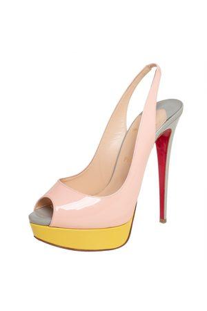 Christian Louboutin Patent Leather Lady Peep Toe Slingback Platform Sandals Size 39.5