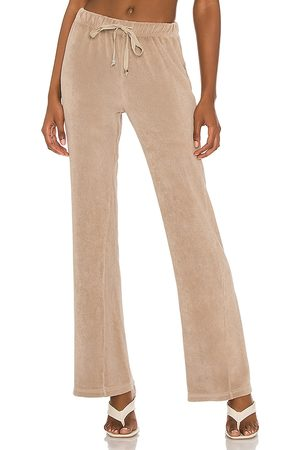 Donni. Terry Wide Leg Pant in Beige.