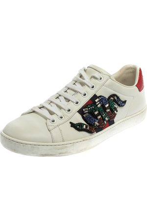Gucci Women Sneakers - Leather Ace Snake Crystal Embellished Low Top Sneakers Size 38.5