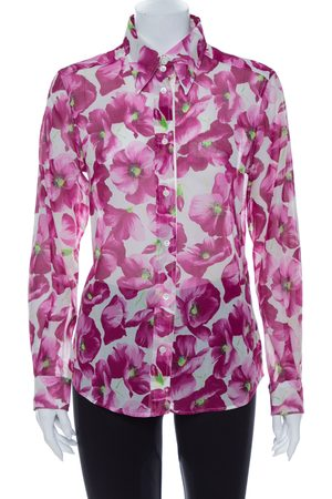 Dolce & Gabbana Hydrangea Printed Cotton Button Front Shirt L