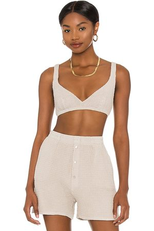 Donni. Waffle Bralette in Taupe.
