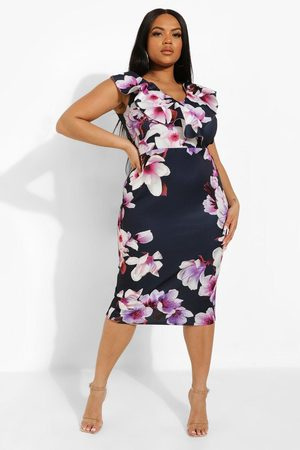 Boohoo Womens Plus Occasion Ruffle Floral Midi Dress - - 12