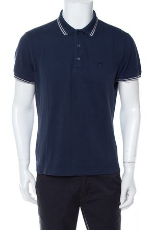 Dior Navy Bee Embroidered Cotton Pique Polo T-Shirt L
