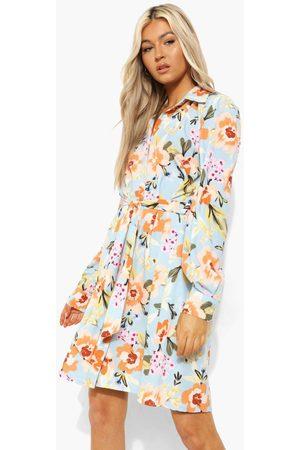Boohoo Womens Tall Woven Floral Print Tie Waist Shirt Dress - - 2