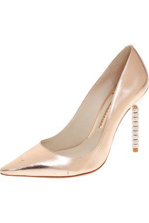 SOPHIA WEBSTER Metallic Rose Leather Crystal Embellished Heel Coco Pumps Size 40