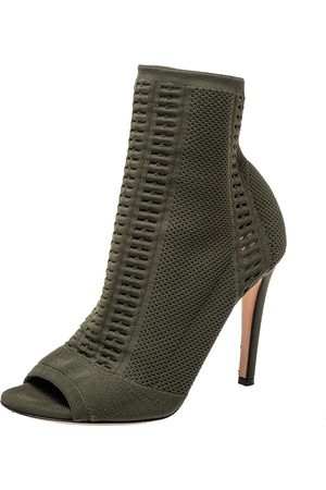Gianvito Rossi Perforated Knit Fabric Ankle Boots Size 37.5