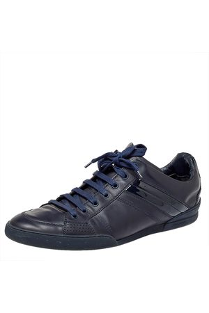 Dior Navy Leather And Patent Leather Lace Up Sneaker Size 43