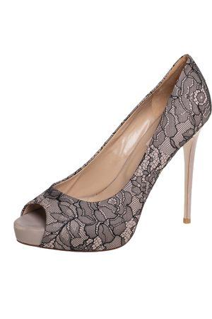 VALENTINO / Black Lace Peep Toe Platform Pumps Size 39