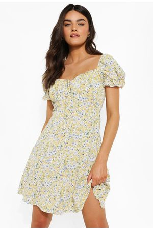 Boohoo Womens Ditsy Floral Puff Sleeve Skater Dress - - 4