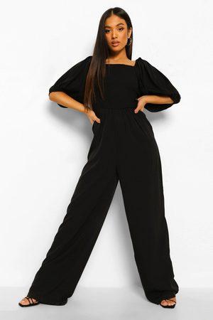 Boohoo Womens Petite Puff Sleeve Jumpsuit - - 2
