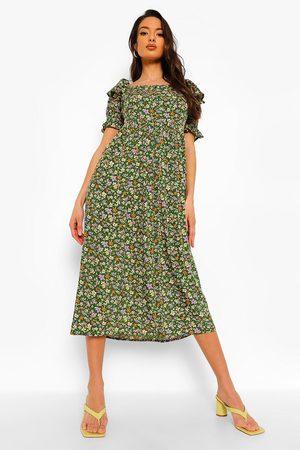 Boohoo Womens Floral Print Square Neck Midaxi Dress - - 4
