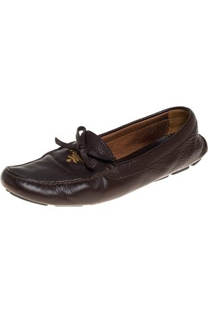 Prada Leather Bow Loafers Size 40