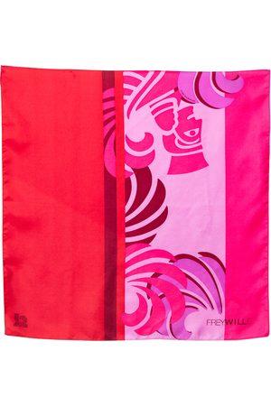 FREYWILLE & Red Sphinx Print Silk Gavroche Scarf