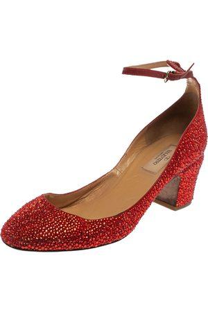 VALENTINO Crystal Embellished Suede Block Heel Ankle Strap Pumps Size 39