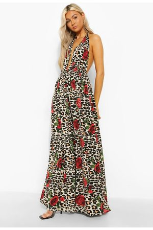 Boohoo Womens Tall Leopard Rose Halter Plunge Maxi Dress - - 2