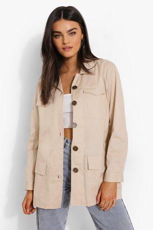 Boohoo Womens Linen Look Button Down Shacket - - 4
