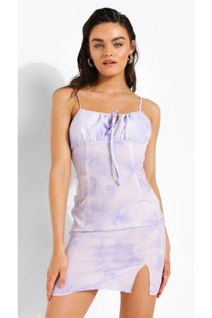 Boohoo Womens Tie Dye Tie Front Mini Dress - - 2