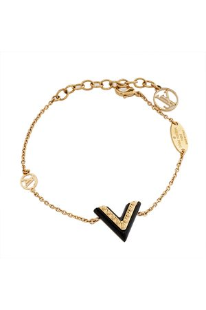 LOUIS VUITTON Black Lacquer Studded Essential V Bracelet