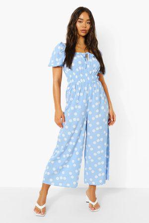 Boohoo Womens Polka Tie Front Puff Sleeve Culotte Jumpsuit - - 4