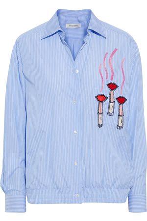 VALENTINO Women Long sleeves - Woman Embellished Striped Cotton-poplin Shirt Light Size 40