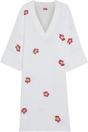 Solid Woman Bead-embellished Linen-gauze Kaftan Size L