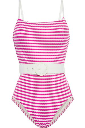 Solid Woman The Nina Belted Striped Ribbed Swimsuit Fuchsia Size L