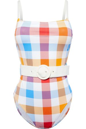 SOLID & STRIPED Woman The Nina Belted Gingham Swimsuit Ivory Size L