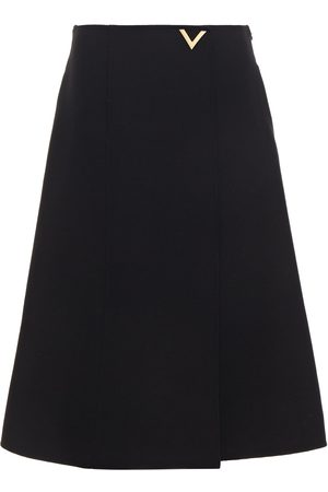 VALENTINO Woman Wrap-effect Embellished Wool-crepe Midi Skirt Size 10