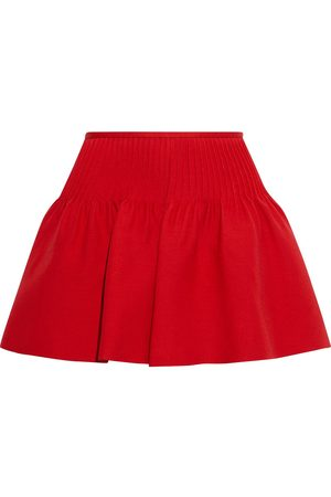 VALENTINO Woman Pintucked Wool And Silk-blend Crepe Mini Skirt Size 38