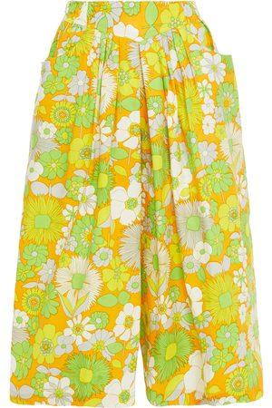 ANTIK BATIK Woman Pleated Floral-print Cotton-poplin Culottes Marigold Size 36