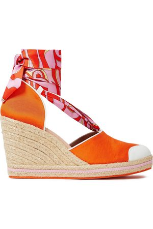 Emilio Pucci Woman Leather-trimmed Printed Twill And Grosgrain Wedge Espadrilles Bright Size 36