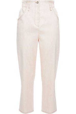 Emilio Pucci Woman Cropped Stretch Linen And Cotton-blend Straight-leg Pants Blush Size 38
