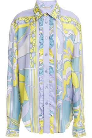 EMILIO PUCCI Women Long sleeves - Woman Ruffle-trimmed Printed Silk-twill Shirt Lilac Size L
