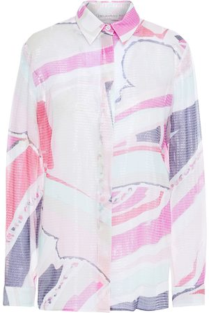 Emilio Pucci Woman Metallic Silk-blend Jacquard Shirt Size 36