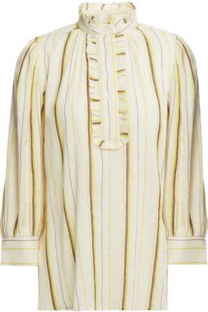 Antik Batik Woman Antonia Ruffle-trimmed Striped Cotton-gauze Blouse Ecru Size 38
