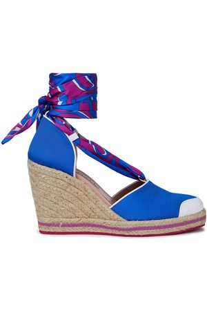 Emilio Pucci Woman Leather-trimmed Printed Twill And Grosgrain Wedge Espadrilles Bright Size 39