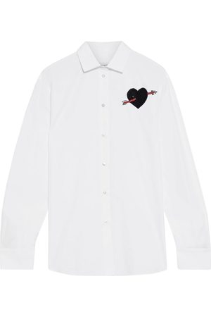 VALENTINO Woman Appliquéd Cotton-poplin Shirt Size 40
