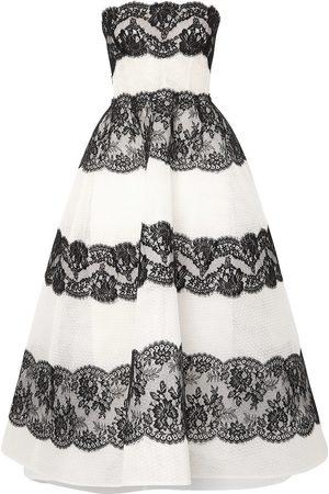 MONIQUE LHUILLIER Woman Strapless Lace-paneled Point D'esprit Tulle Gown Size 10