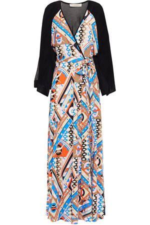 Emilio Pucci Woman Wrap-effect Paneled Printed Jersey Maxi Dress Size 38