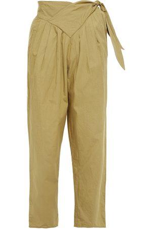 Antik Batik Women Pants - Woman Cropped Pleated Cotton-poplin Tapered Pants Sage Size 36
