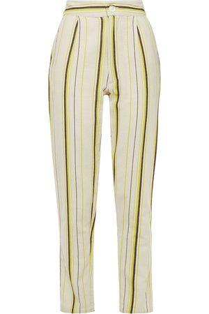 Antik Batik Women Pants - Woman Antonia Striped Cotton-canvas Tapered Pants Ivory Size 38