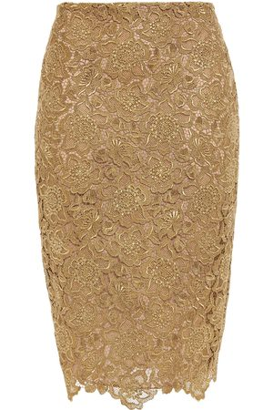 VALENTINO Woman Metallic Guipure Lace Pencil Skirt Size 10