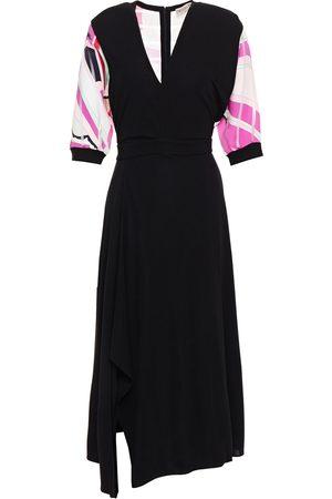 Emilio Pucci Woman Asymmetric Printed Burnout Twill-paneled Jersey Midi Dress Size 40