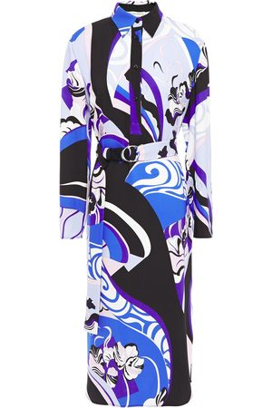 Emilio Pucci Woman Belted Printed Stretch-jersey Midi Shirt Dress Royal Size 40