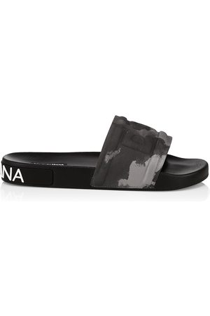 Dolce & Gabbana Men's Camouflage Logo Slide Sandals - Camo - Size 13